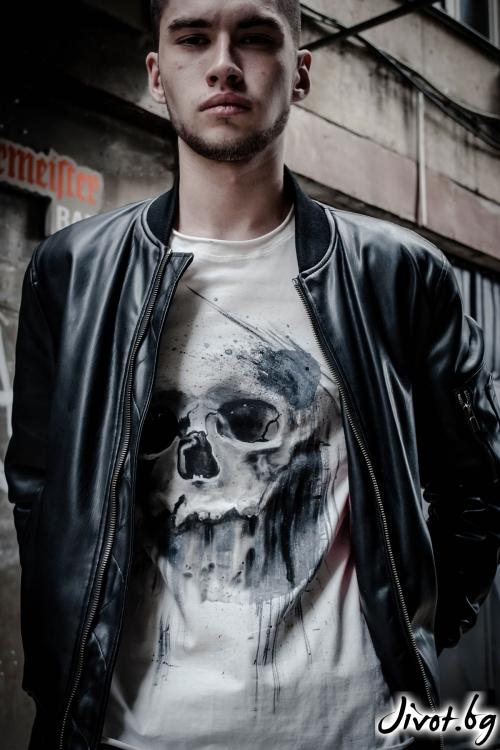"""Ръчно рисувана мъжка блуза """"Necron"""" / EGO Te Provoco"""
