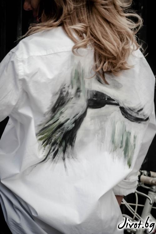 """Дамска ръчно рисувана риза """"Полет"""" / EGO Te Provoco"""
