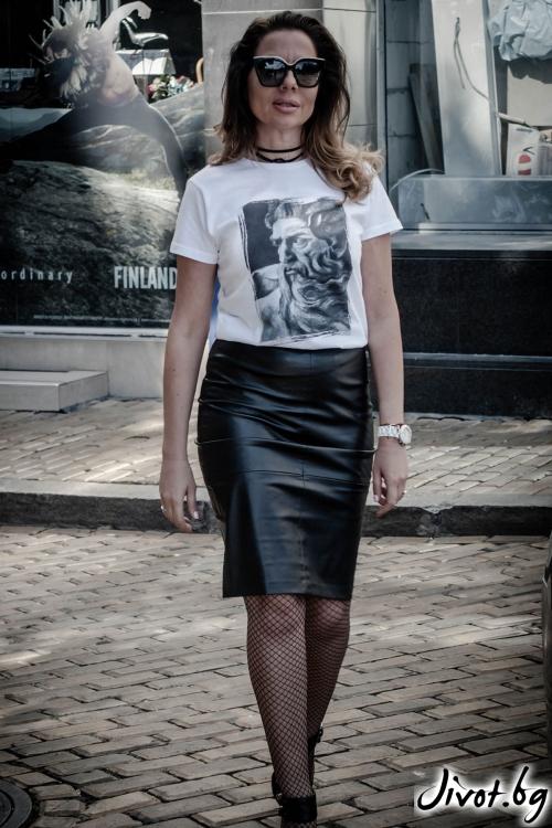 "Бяла дамска тениска с принт ""Посейдон"" / EGO Te Provoco"