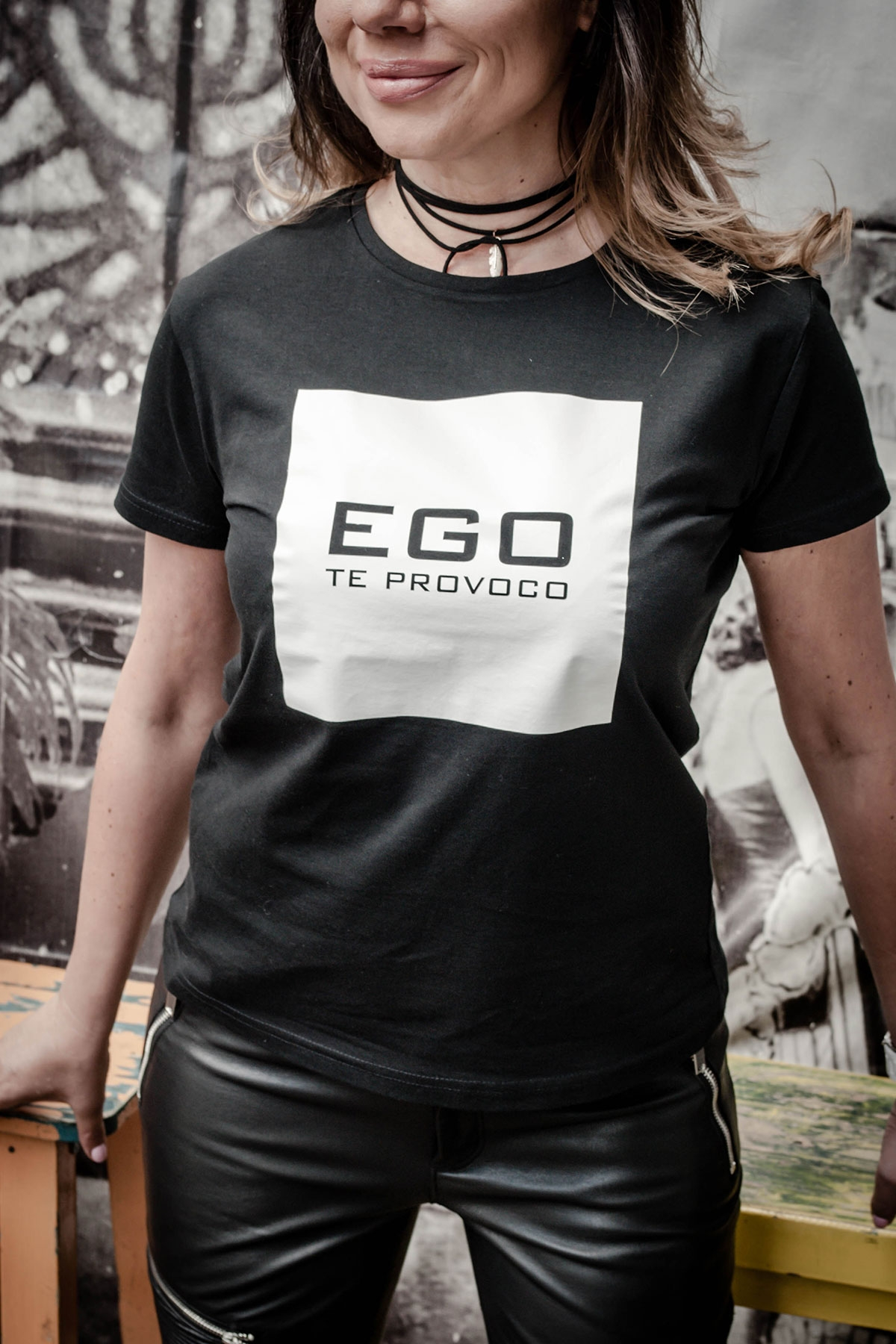 "Уникална дамска черна тениска ""Ego"" / EGO Te Provoco"