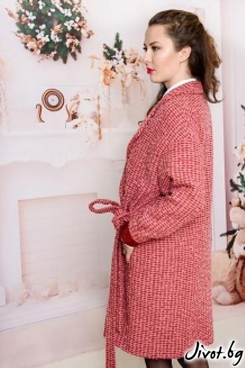 Палто от букле в цвят Бордо / Vivastela