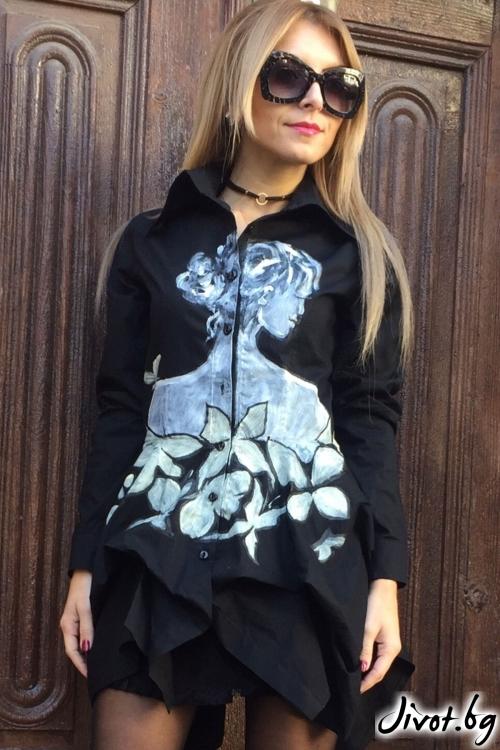 Асиметрична дамска риза с дълги ръкави / By Angela