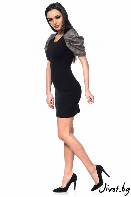 Еластична дамска рокля Dragon skin-black / Décollage