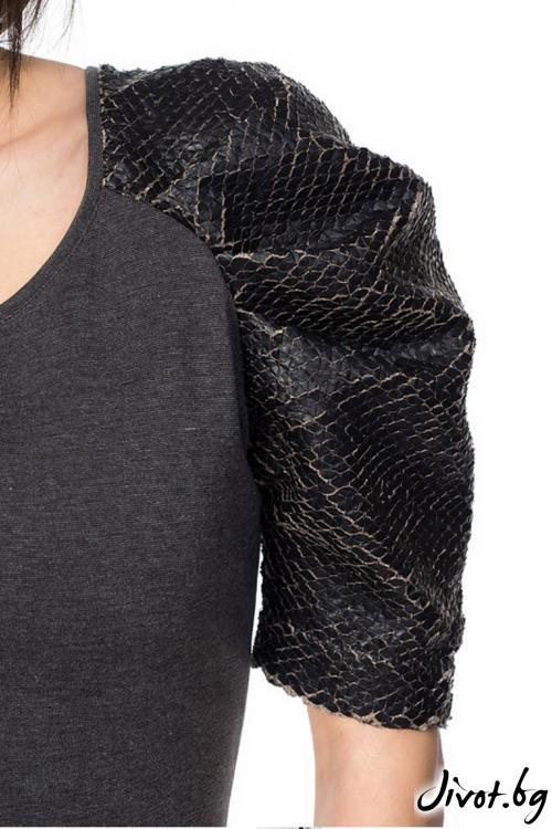 Еластична дамска рокля Dragon skin-graphite / Décollage