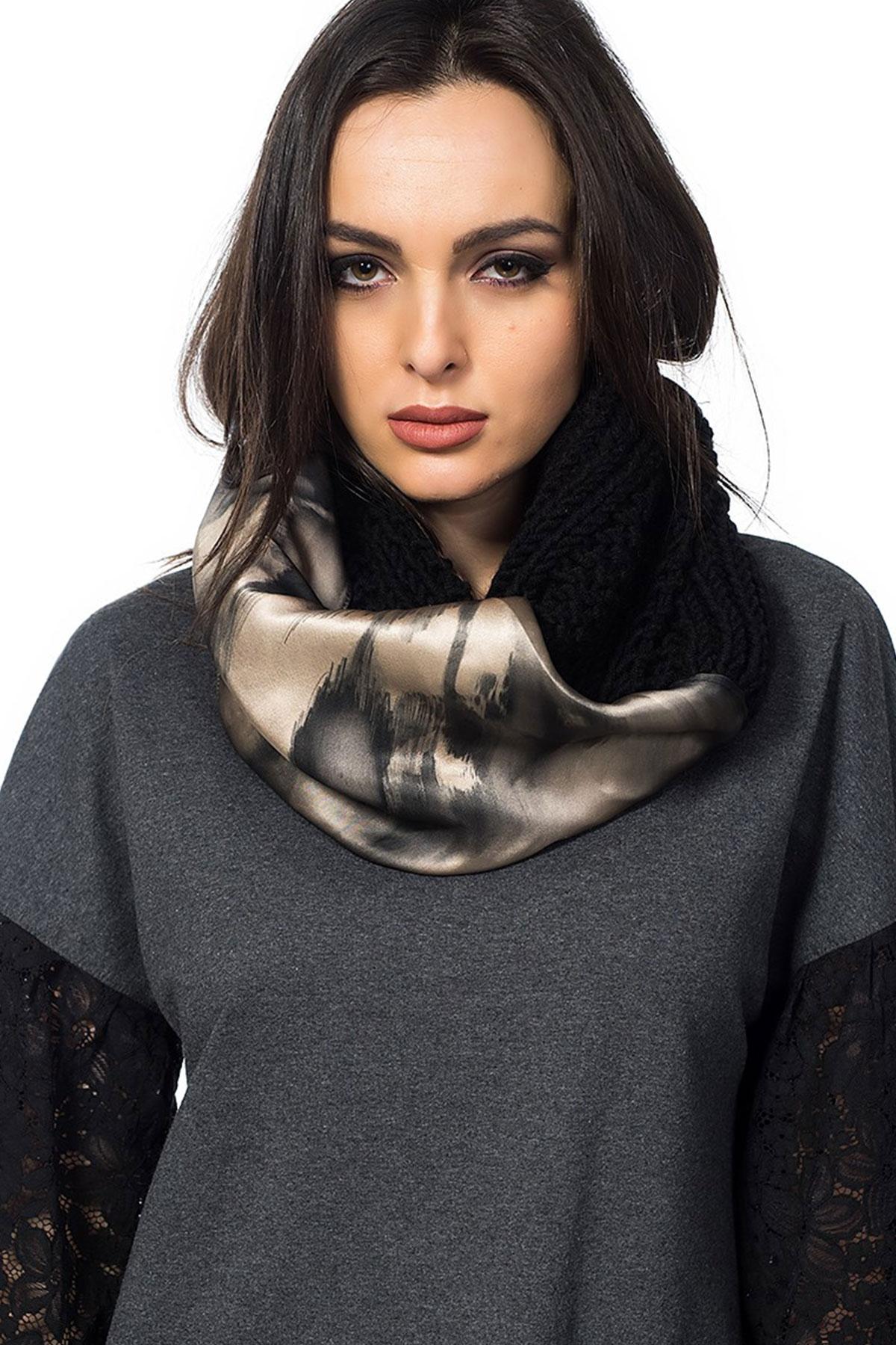 Дамски шал от вълна и коприна Winter touch- black / Décollage