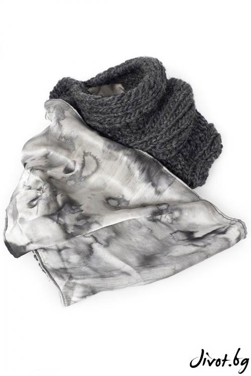 Дамски шал от вълна и коприна Winter touch-gray / Décollage