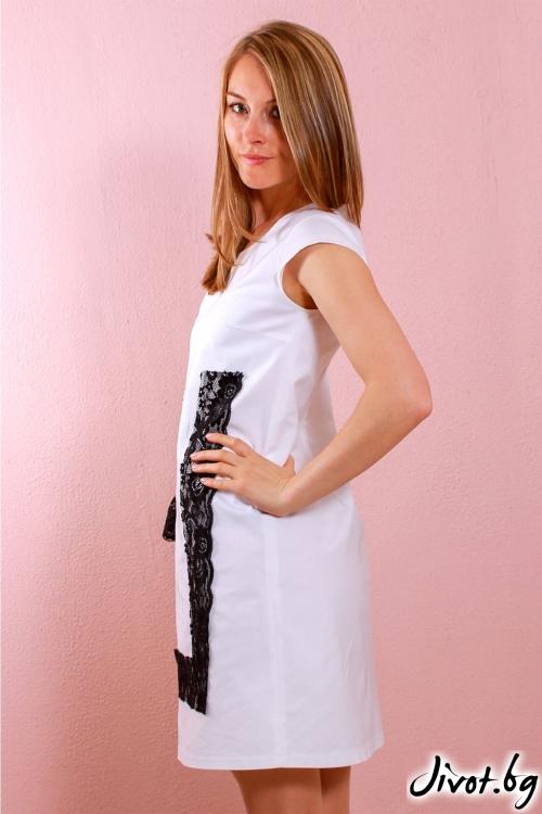 Уникална дамска рокля с принт момиче / Polina Petrova