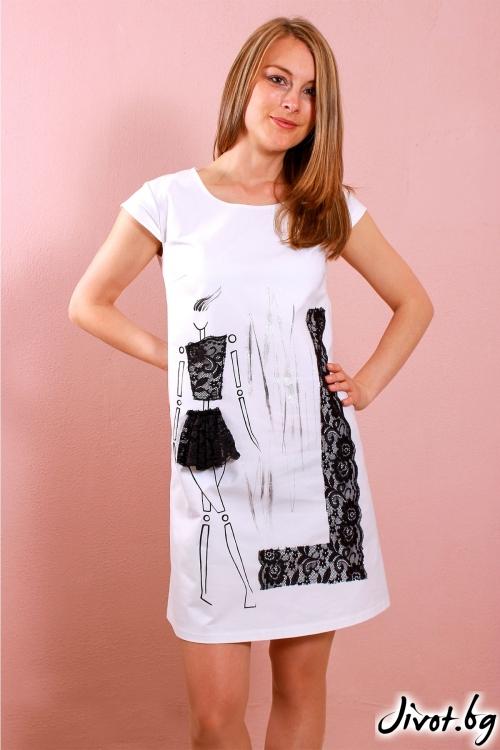Бяла дамска рокля с декорация от дантела / Polina Petrova