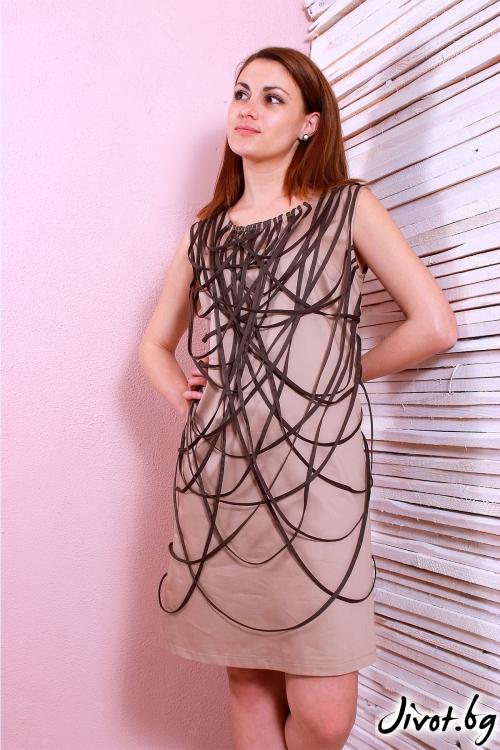 Уникална дамска рокля с тъмни ленти / Polina Petrova