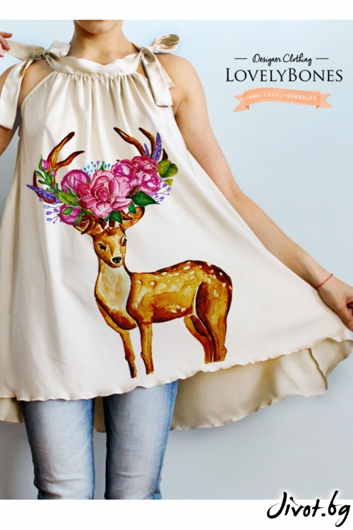 "Копринена Туника ""Deer And Flowers"" / LovelyBones Clothing"