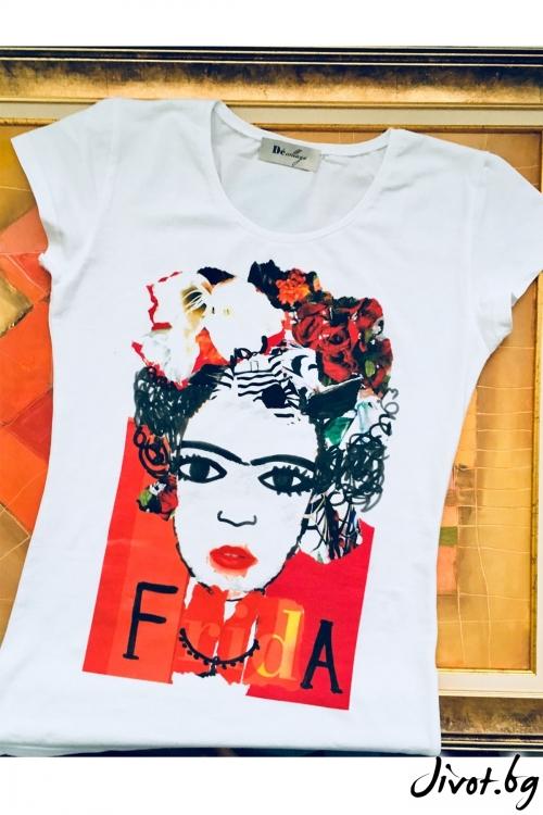 Бяла тениска Frida Khalo / Décollage