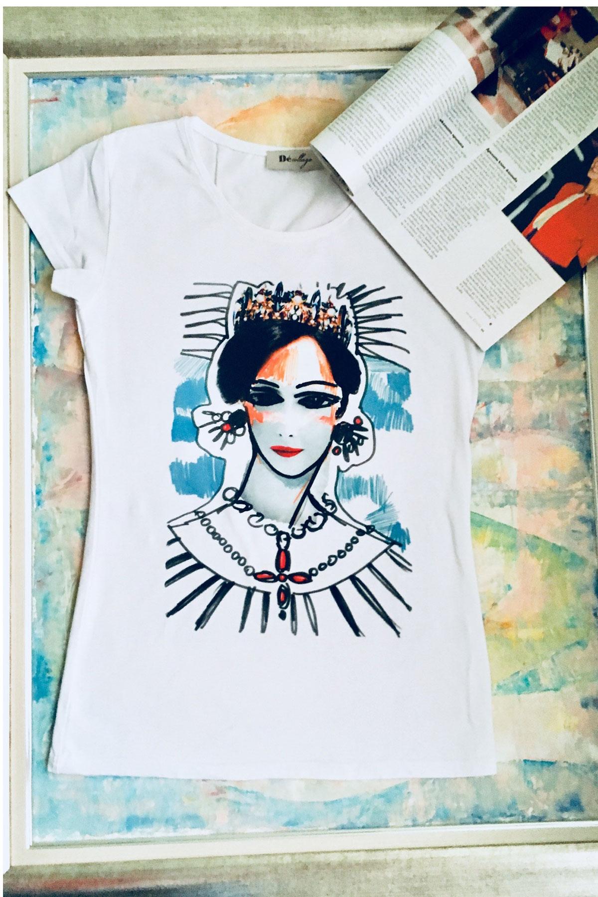Бяла тениска Cleopatra / Décollage