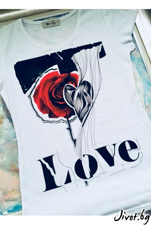 Бяла тениска Love / Décollage