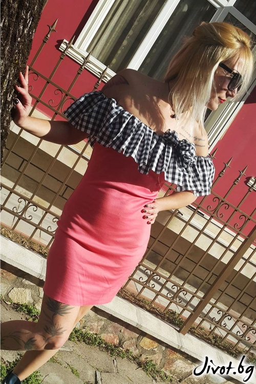 Чевена рокля без ръкави / Jeni&Migla