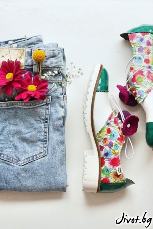 Цветни обувки от естествена кожа Spring Greenary / PESH ART