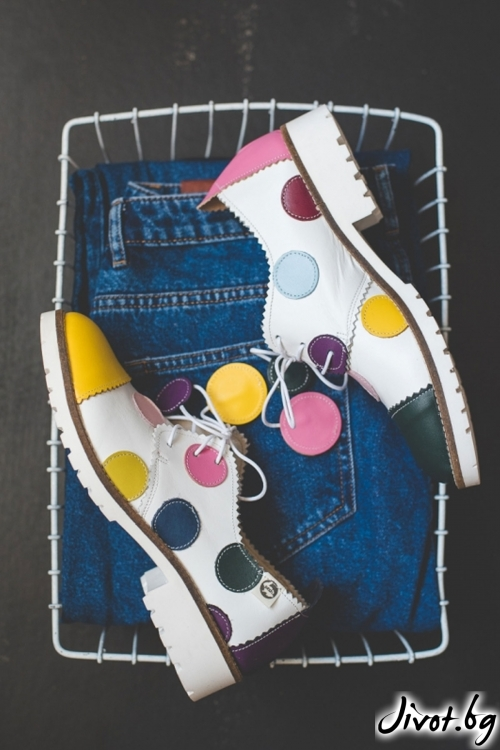 Цветни обувки от естествена кожа и велур Polka Dots / PESH ART