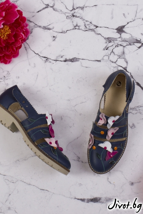 Черни обувки от естествена кожа и велур Polka Dots - Black / PESH ART