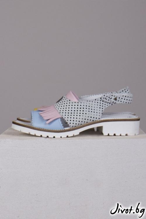 Интересни сандали от естествена кожа Poca Candy / PESH ART