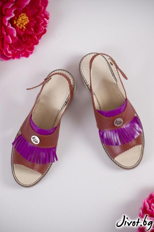 Уникални сандали от естествена кожа Poca Candy / PESH ART