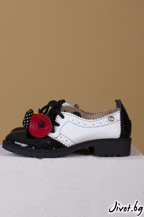 Черно-бели обувки от естествена кожа и велур Splendor Comfort / PESH ART