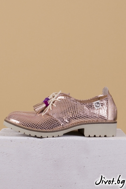 Дамски обувки от естествена кожа и велур Bronze with a touch of Salvia / PESH ART