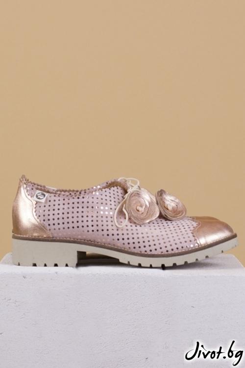 Дамски обувки от естествена кожа и велур Bronze / PESH ART