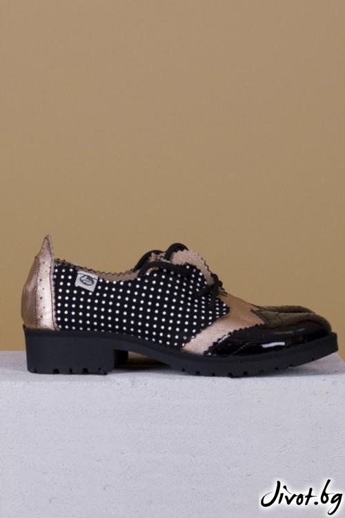 Дамски обувки от естествена кожа и велур Black and Bronze / PESH ART