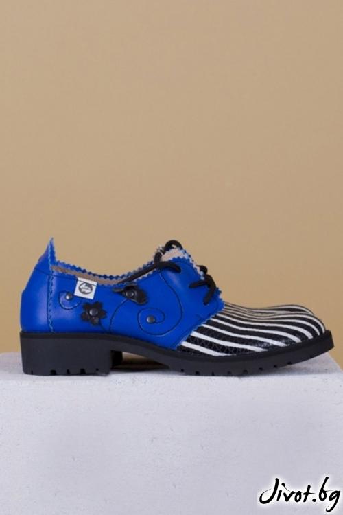 Дамски обувки от естествена кожа Melancholic Garden - Blue / PESH ART