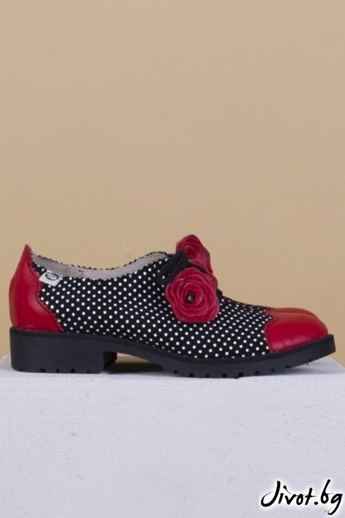 Дамски обувки от естествена кожа и велур Summer Flower - Red / PESH ART