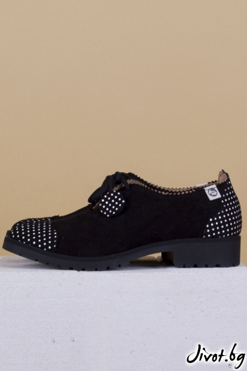 Дамски обувки от естествен велур Ladybird - Black / PESH ART