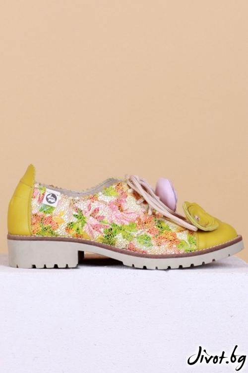 Дамски обувки от естествен кожа и велур Limocello and Flowers 2 / PESH ART
