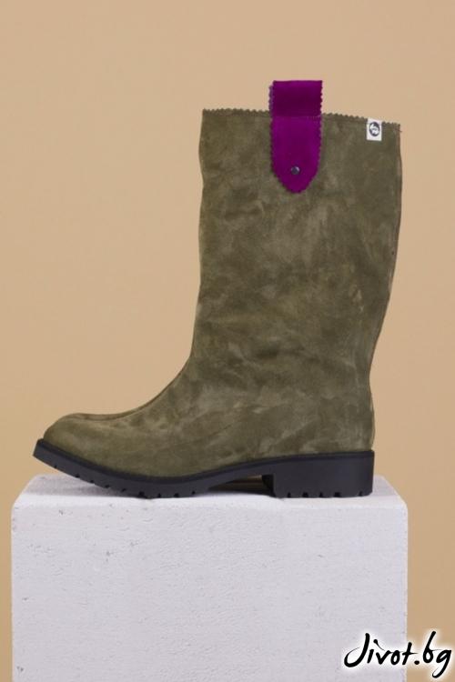 Дамски ръчно декорирани велурени обувки Precious Wellie / PESH ART