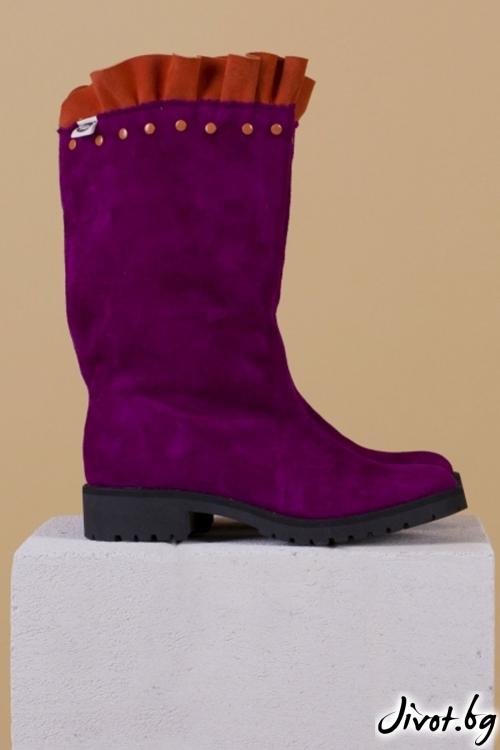 Дамски ръчно декорирани велурени обувки Wellie - Salvia / PESH ART