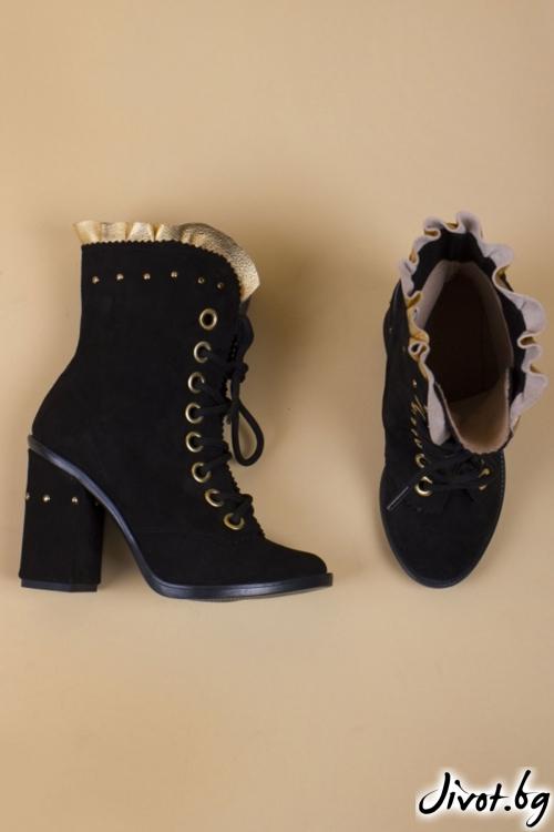Велурени черни обувки на ток Black and Gold Babe - Medium / PESH ART