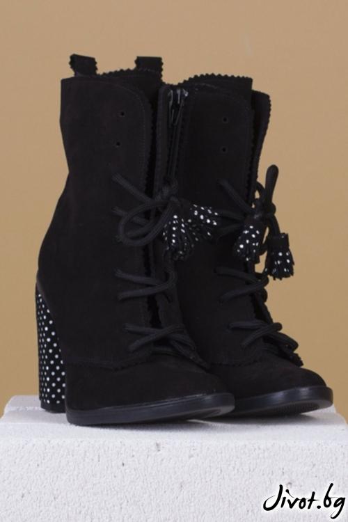 Велурени черни обувки на ток 1950 Babe - Medium / PESH ART