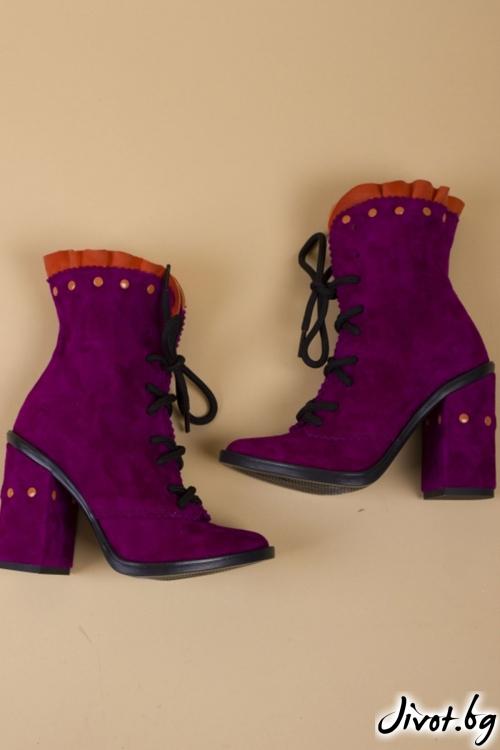 Уникални велурени обувки на ток Salvia Babe / PESH ART