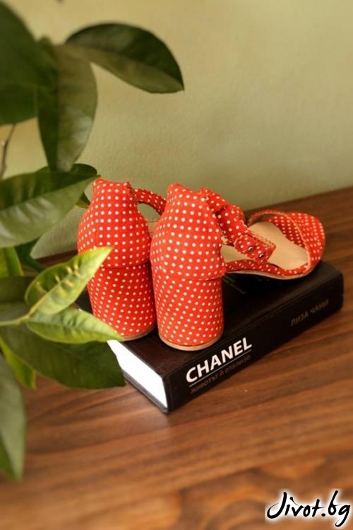 Велурени обувки на ток Ines Orange / PESH ART