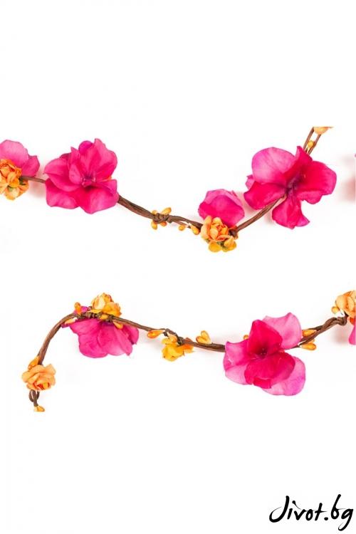 Разкошен аксесоар за влитане в косата с листенца от хортензии и малки хартиени розички / Forget-me-not