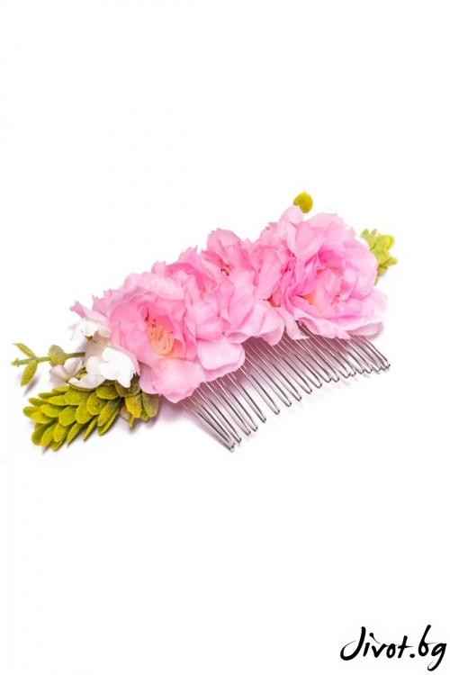 Ръчно изработен гребен с разкошни цветя в розово / Forget-me-not