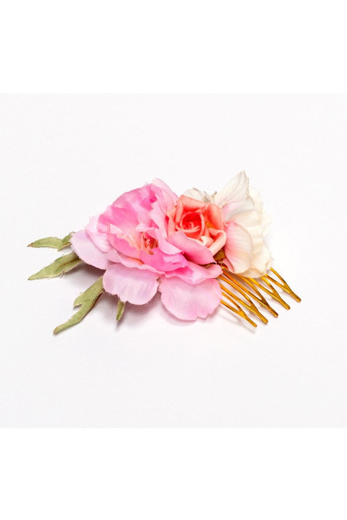 Ръчно изработен гребен в бледо розово и бяло / Forget-me-not