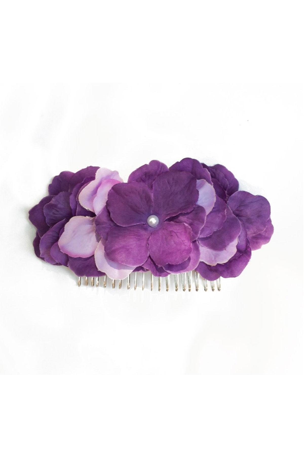 Ръчно изработен гребен с лилави цветя / Forget-me-not