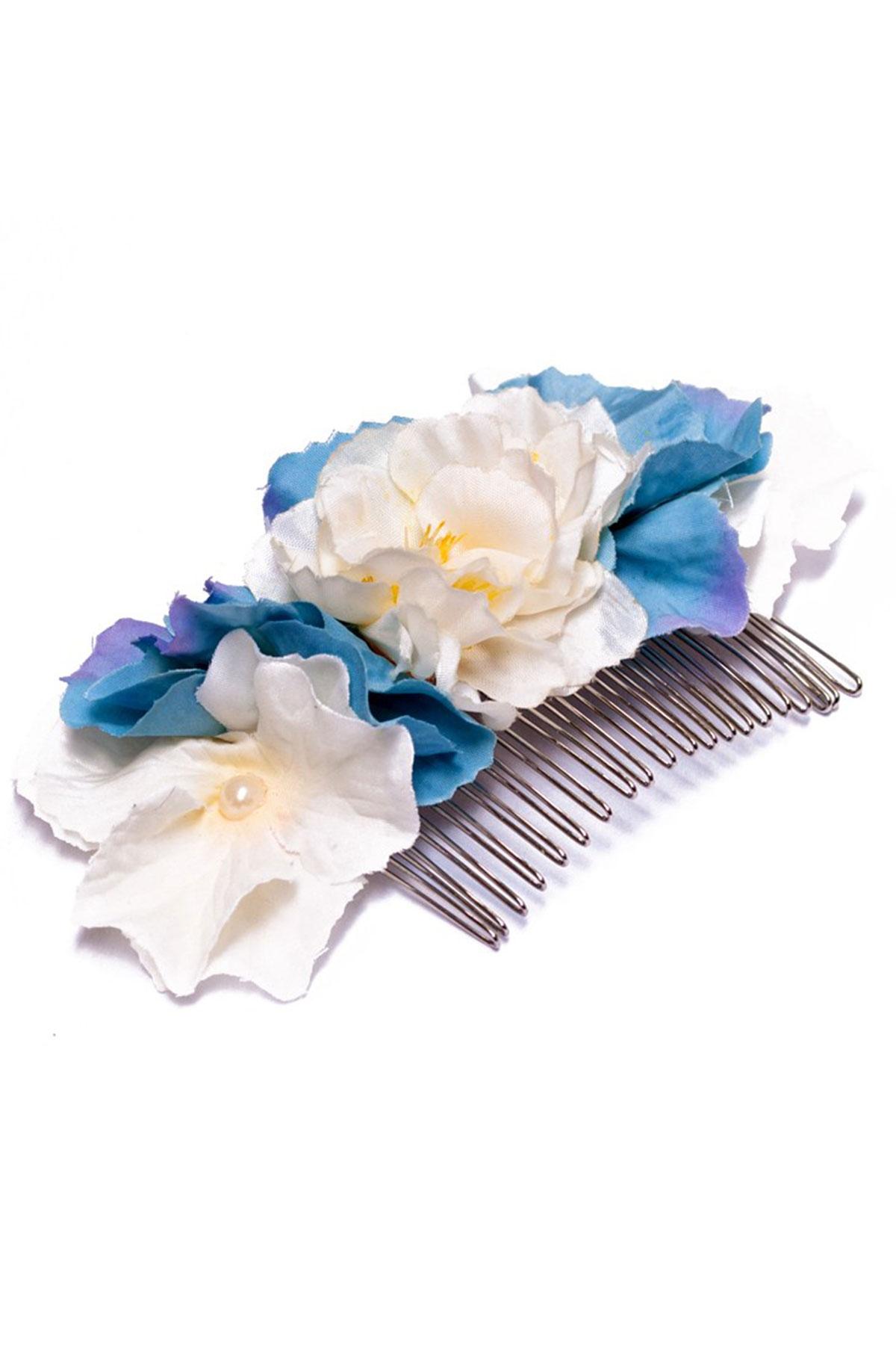 Ръчно изработен гребен със сини и бели цветя / Forget-me-not