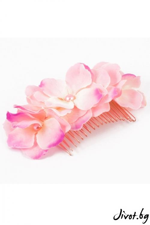 Ръчно изработен гребен в розов цвят / Forget-me-not