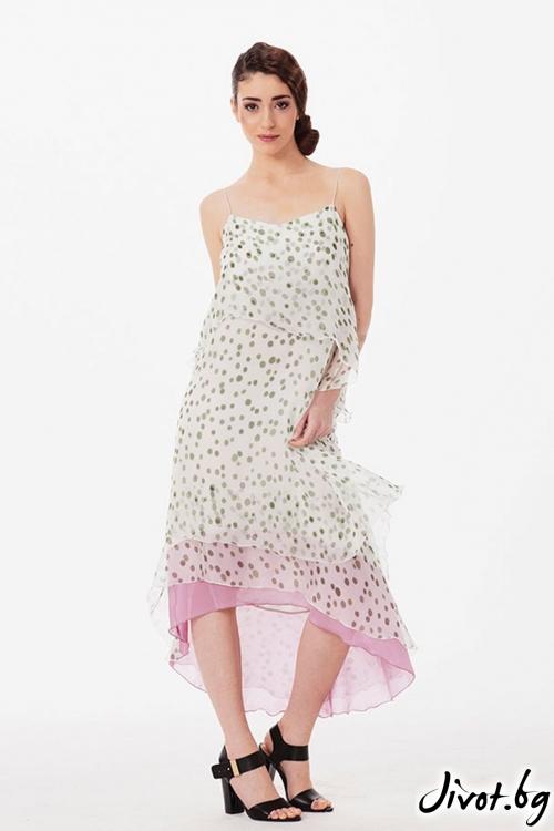 Асиметрична копринена рокля на точки / Lila Style House
