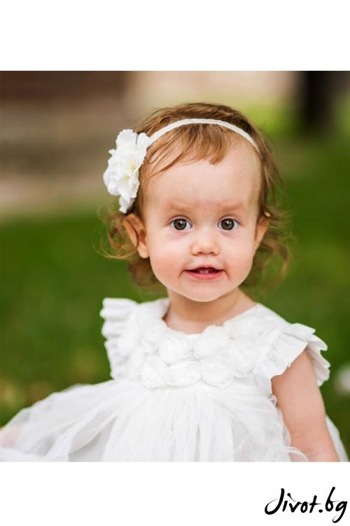 """Ръчно изработена бебешка лента за коса """"MARIE"""" / Forget-me-not"""