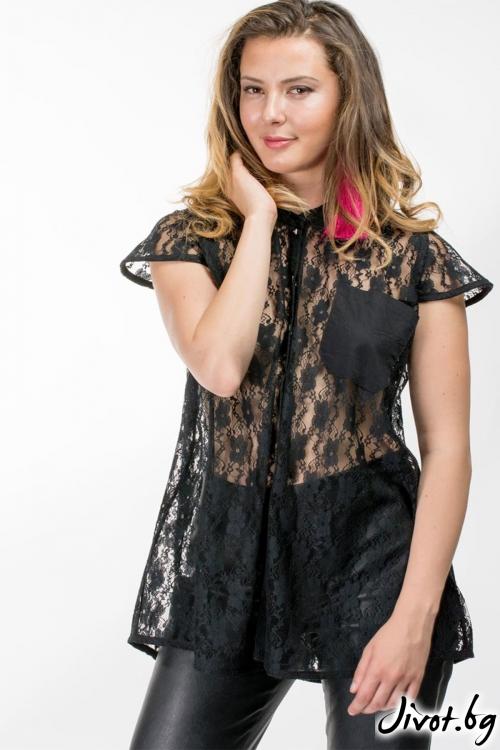 Дамска риза от черна дантела / Vivastela