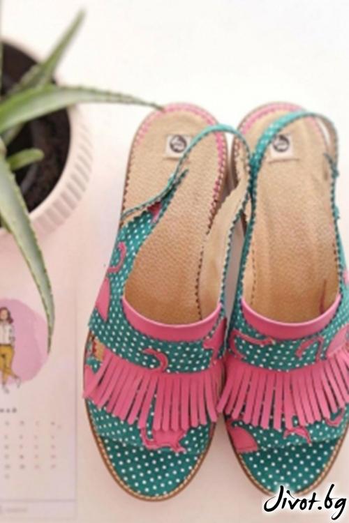 Велурени дамски сандали Flamingo Poca / PESH ART