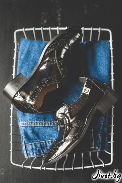 Класически кожени обувки Splendor in Black Patent/ PESH ART