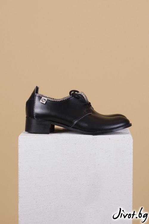 Черни кожени обувки Simply Black Splendor / PESH ART