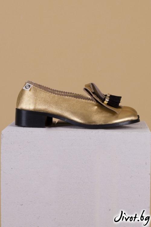 Дизайнерски обувки от естествена кожа Gold Nights / PESH ART